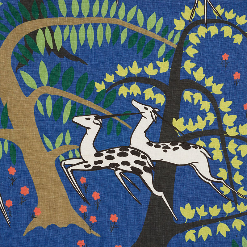 Schumacher Antelopes Cobalt Fabric
