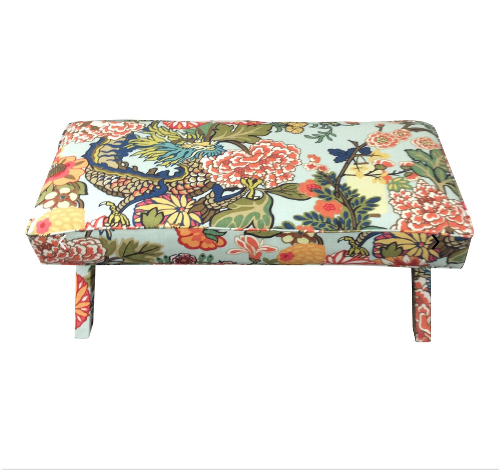 Schumacher Chiang Mai Dragon fabric X-bench. Lilly and Co