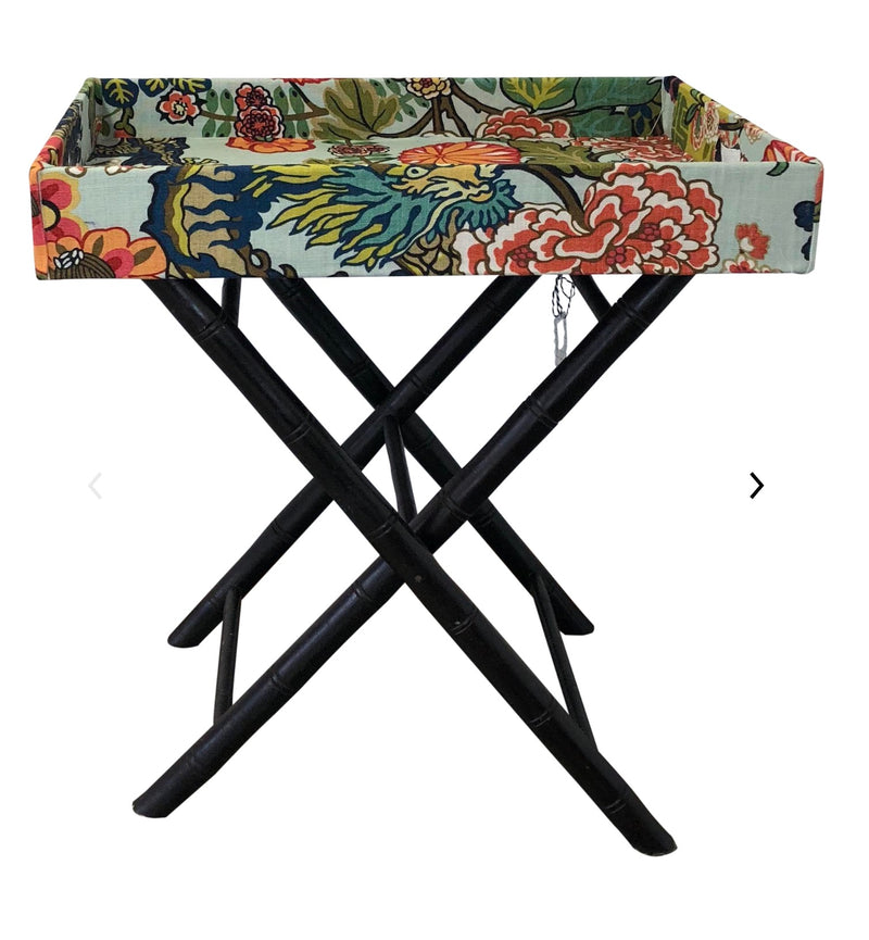 Schumacher Chiang Mai Dragon fabric tray table bamboo legs Lilly and Co
