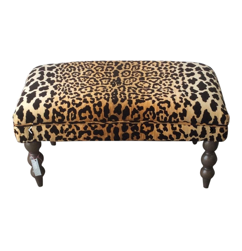 Jamil leopard fabric bench, jamil leopard ottoman, Lilly and Co