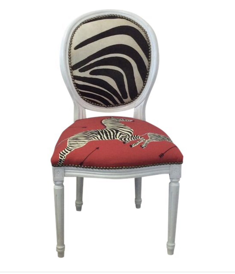 Scalamandre Zebra fabric chair, Zebra fabric chair, Zebra cowhide, Lilly and Co.
