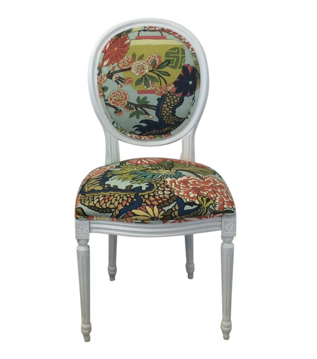 Schumacher Chiang Mai Dragon fabric Louis XVI chair, dragon fabric side chair, Lilly and Co
