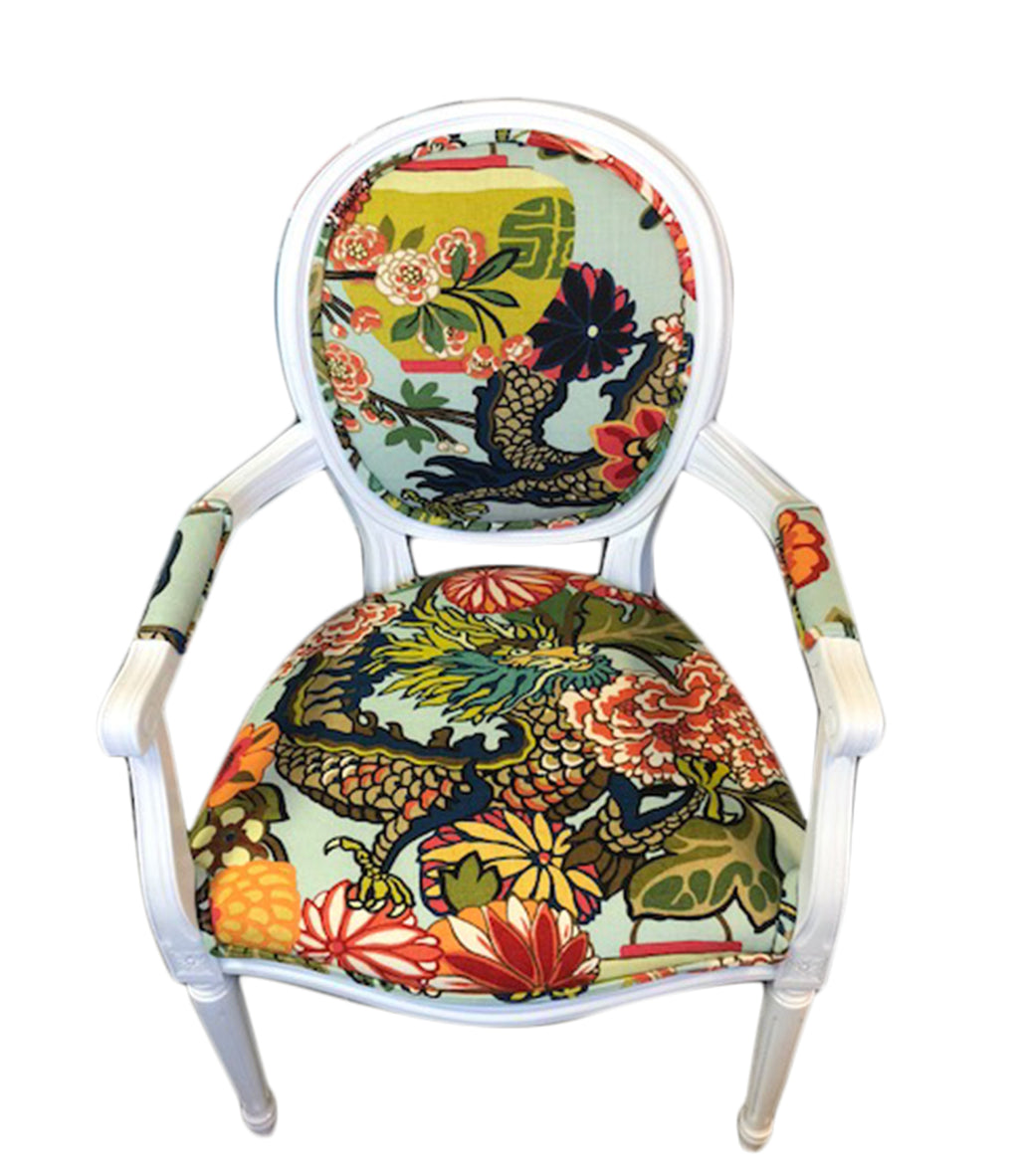 Schumacher Chiang Mai Dragon fabric round back armchair. dining chair, Lilly and Co