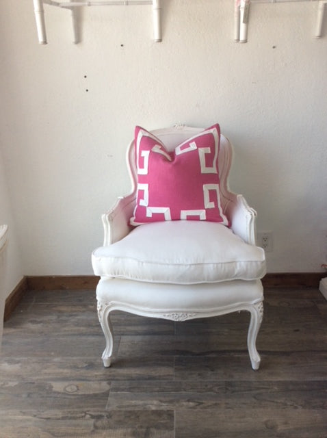 Greek Key Fretwork Hot Pink Pillow by Lilly and Co