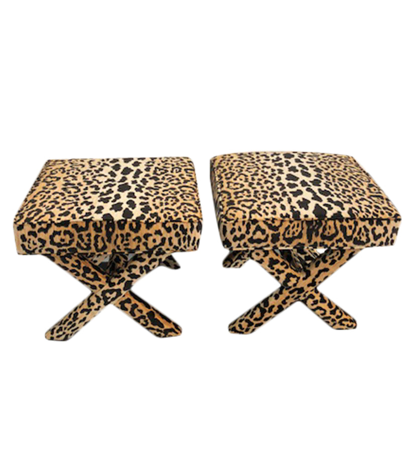Leopard fabric x-bench, jamil leopard fabric x-bench, Lilly and Co