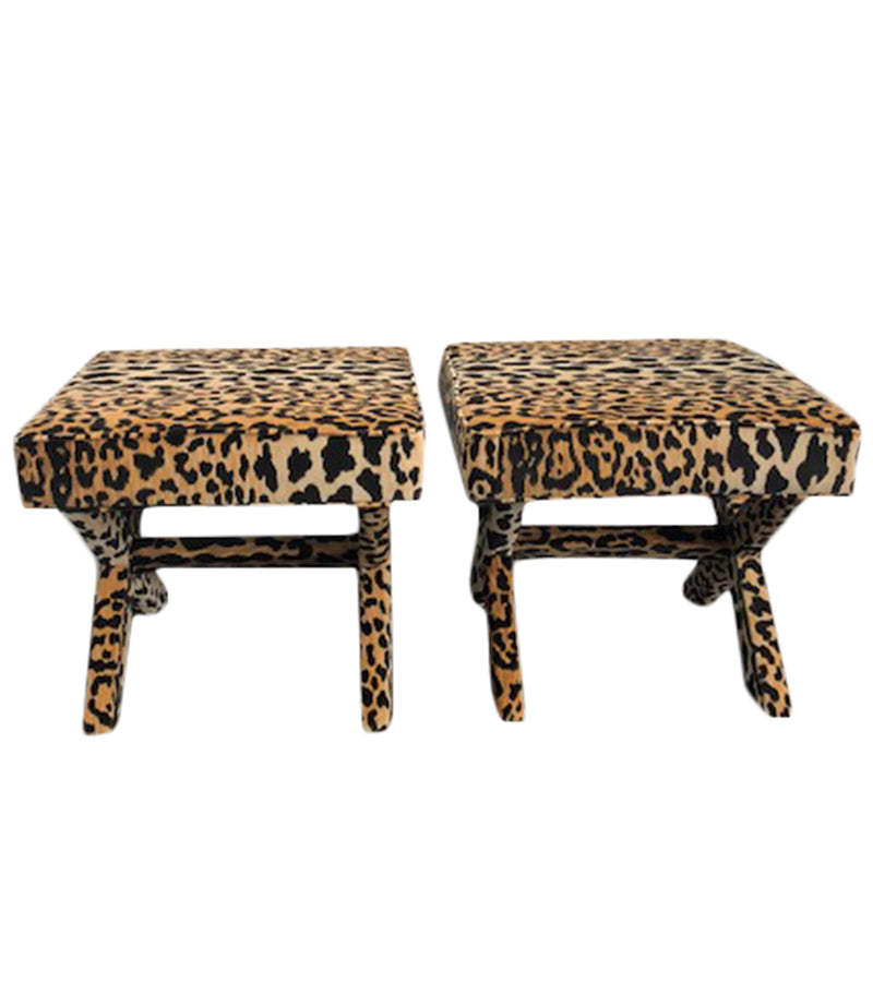 Braemore Jamil Leopard Print fabric x-bench, Lilly and Co
