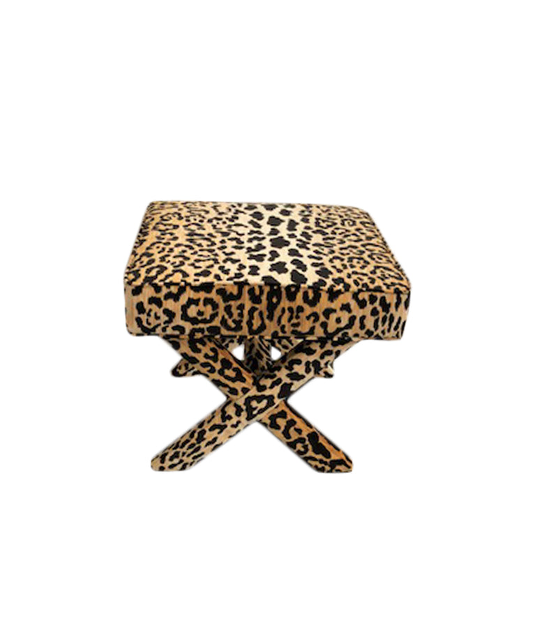 Jamil Leopard fabric x-bench, leopard x bench  Lilly and Co