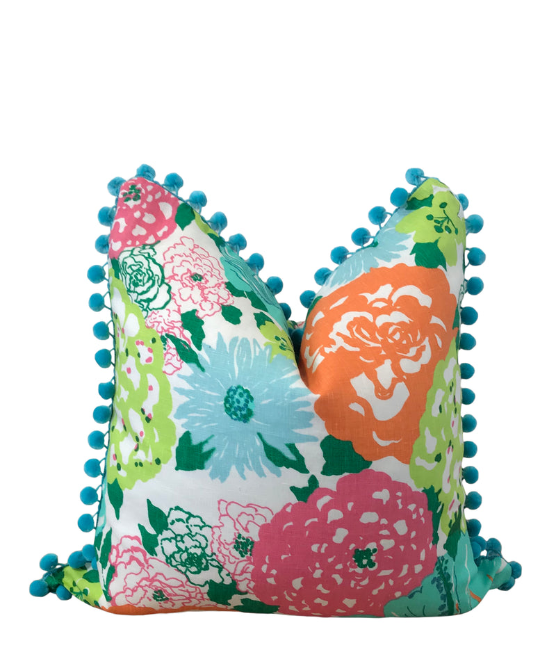 Lilly Pulitzer Heritage Floral Fabric Orange and Aqua Pillow Cover by Lilly and Co.