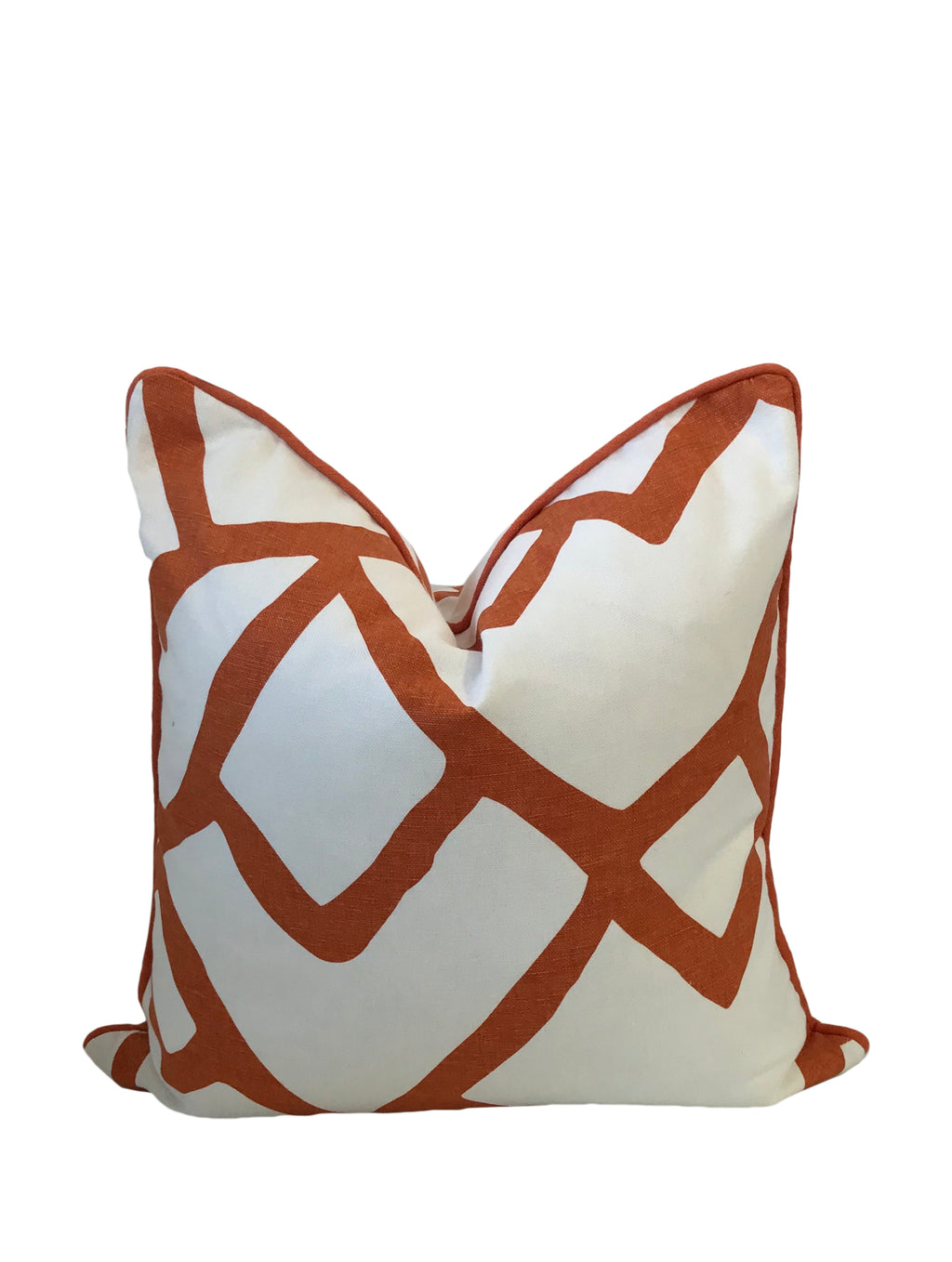 Schumacher Zimba Orange Fabric Throw Pillow