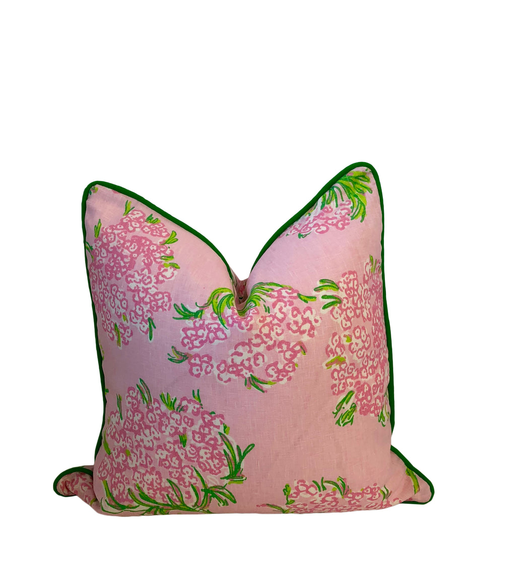 Lilly Pulitzer Racey Lacey Green and Pink Fabric Pillow Cover by Lilly and Co.
