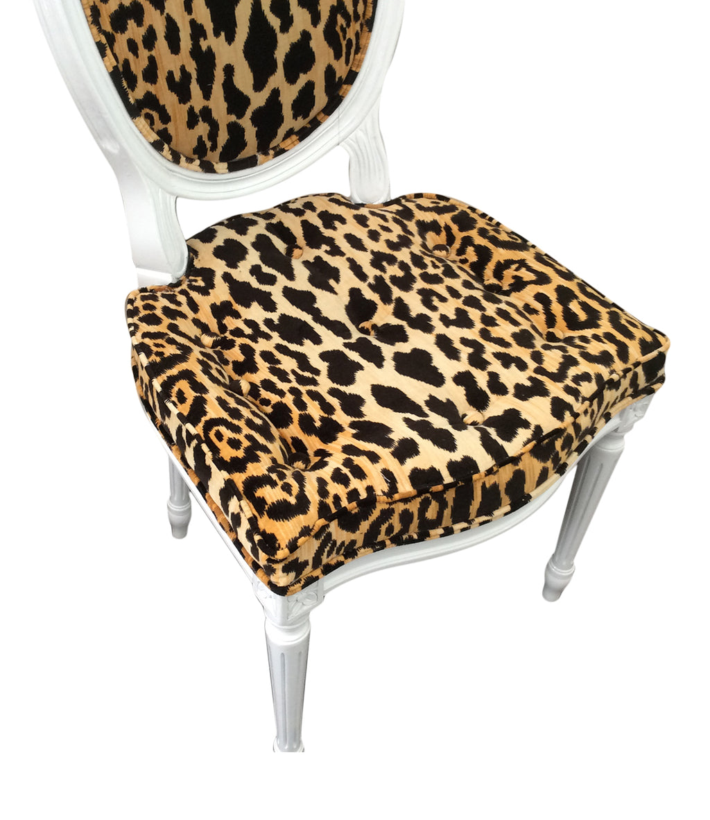 Jamil Leopard fabric side chair, leopard desk chair, leopard dining chair, Lilly and Co