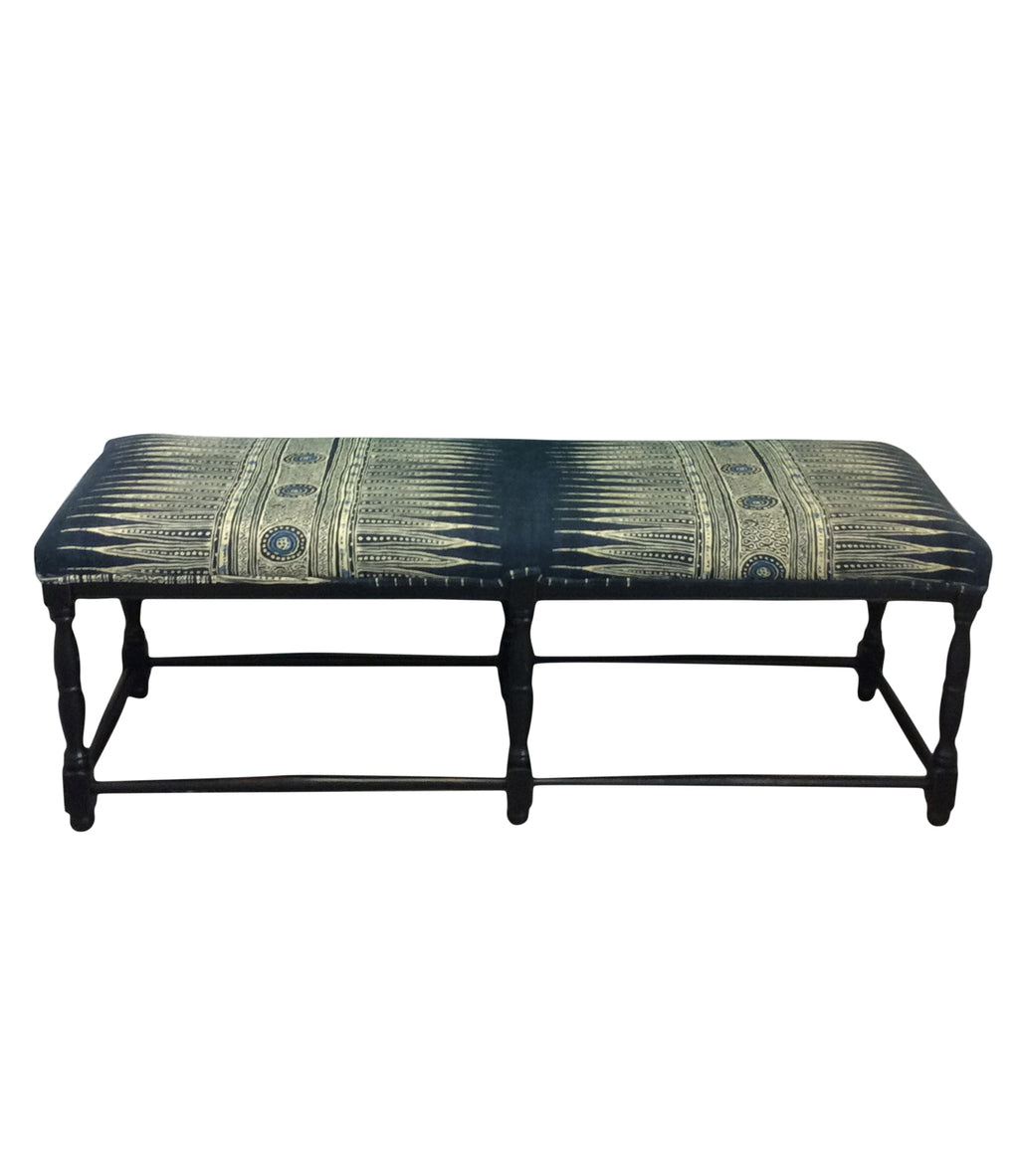 British Colonial Bench Indian Zag Indigo Fabric. Lilly and Co.