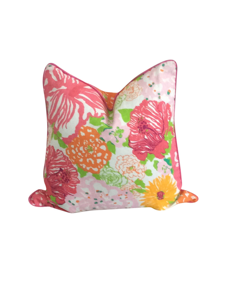 Lilly Pulitzer Coral Reef Pink Fabric Pillow Cover by Lilly and Co.