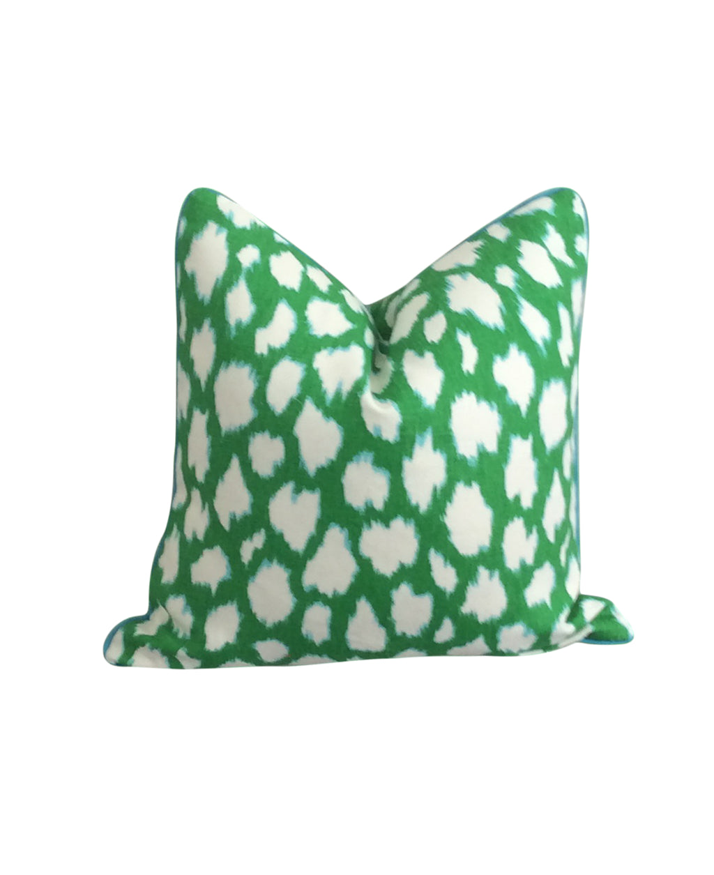 Kade Spade Leokat Kelly Green Fabric decorative throw pillow by Lilly and Co.