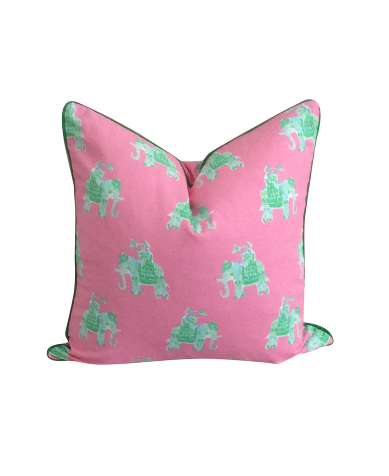 Lilly Pulitzer Bazaar Elephant Pink and Green Fabric Pillow by Lilly and Co.