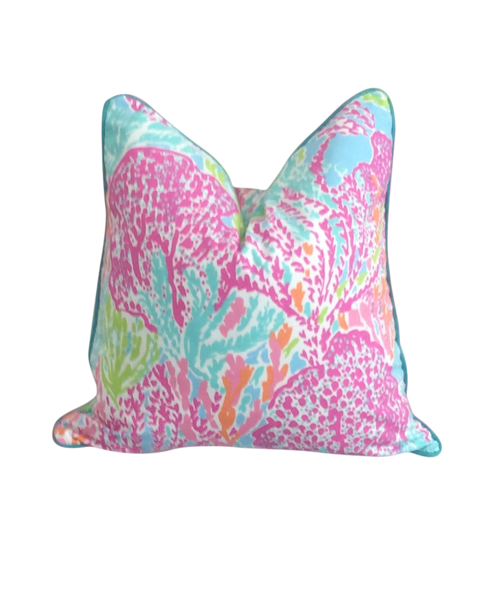 Lilly Pulitzer Coral Reef Let's Cha Cha pink fabric pillow cover Lilly and Co.