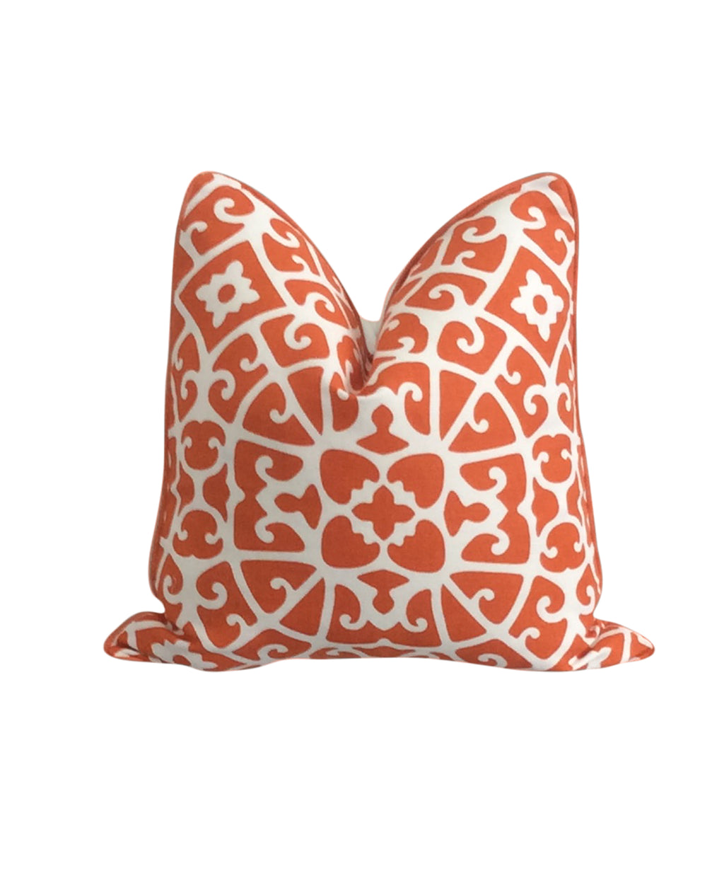Scalamandre Ashun Lattice Persimmon Fabric Pillow