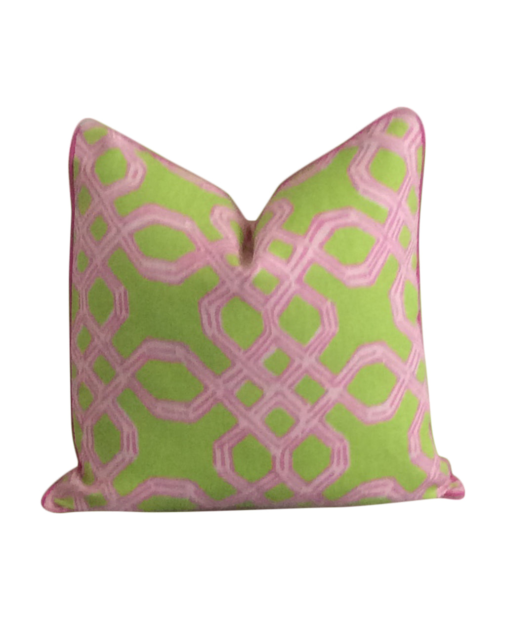 Lilly Pulitzer Well Connected Green and Pink Fabric Pillow Cover by Lilly and Co.