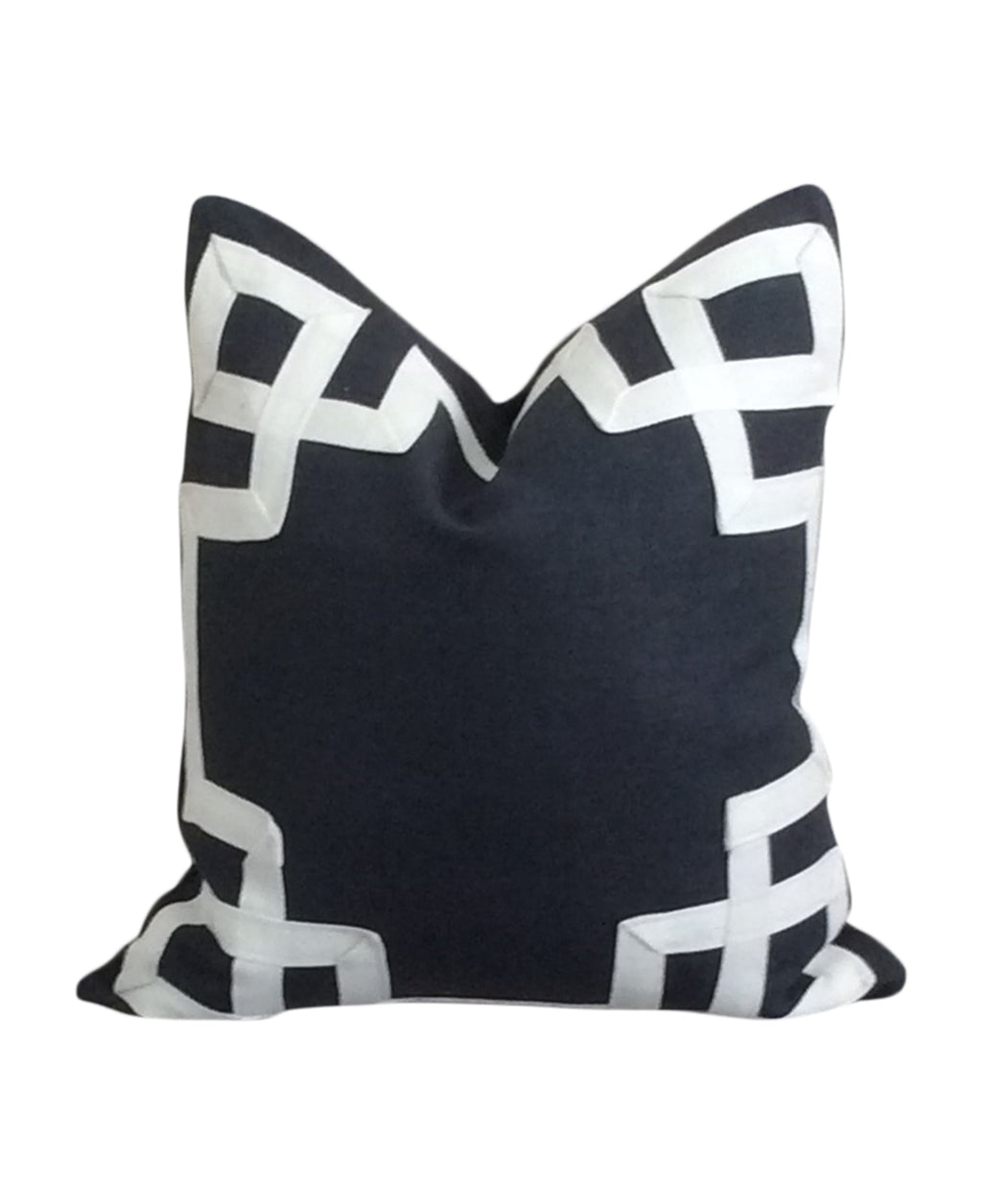 Greek Key Fretwork Navy Blue Pillow by Lilly and Co