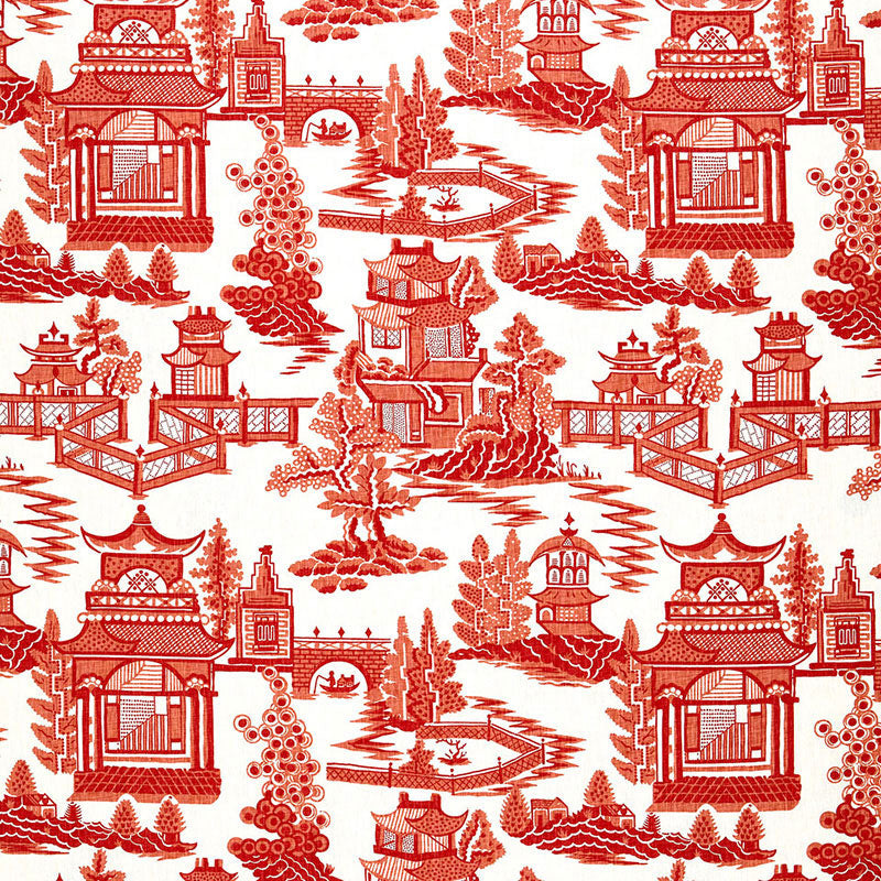 Schumacher Nanjing Coral Fabric offered by Lilly and Co.