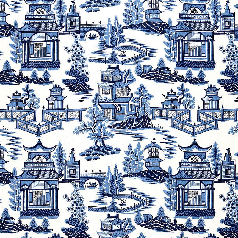 Schumacher Nanjing Porcelain Fabric offered by Lilly and Co.