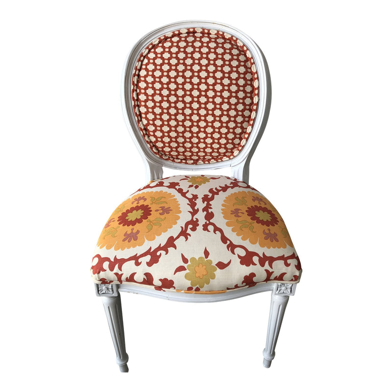 Quadrille Suzani Fabric Louis XVI Side Chair