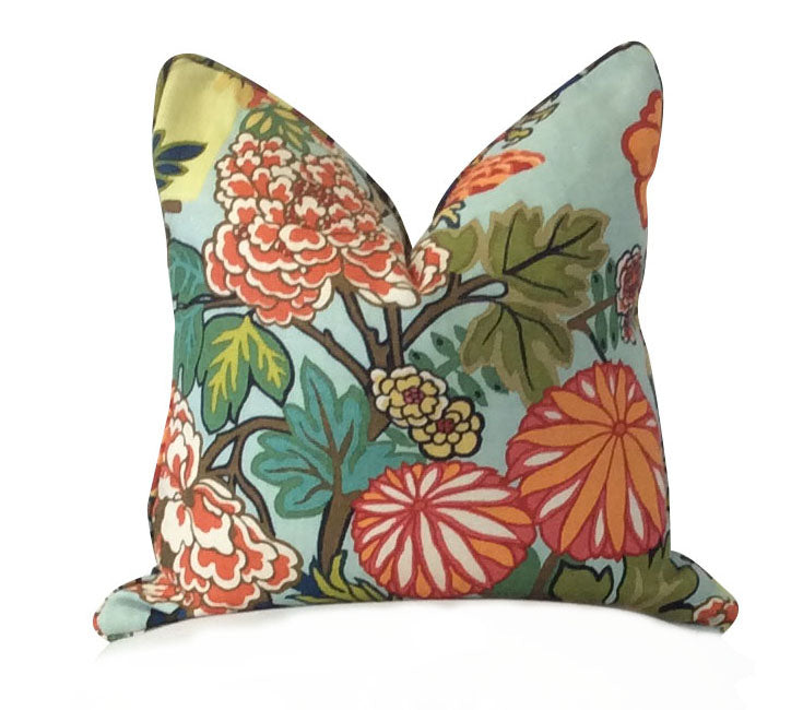 Schumacher Chiang Mai Dragon Aquamarine Fabric Pillow. Lilly and Co