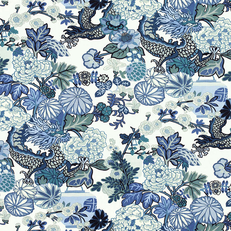 Schumacher Chiang Mai Dragon Fabric China Blue Fabric
