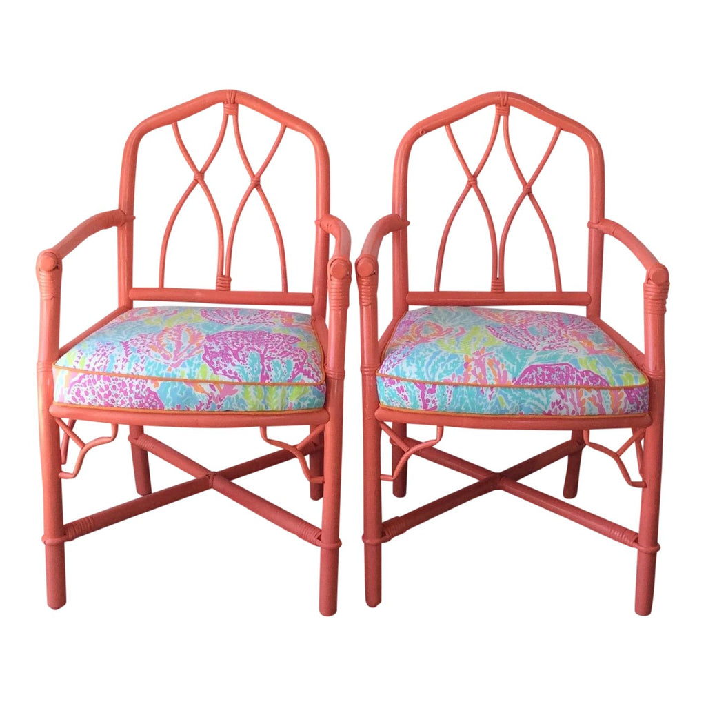 Vintage Ficks Reed Arm Chairs Lilly Pulitzer Let's Cha Cha Fabric