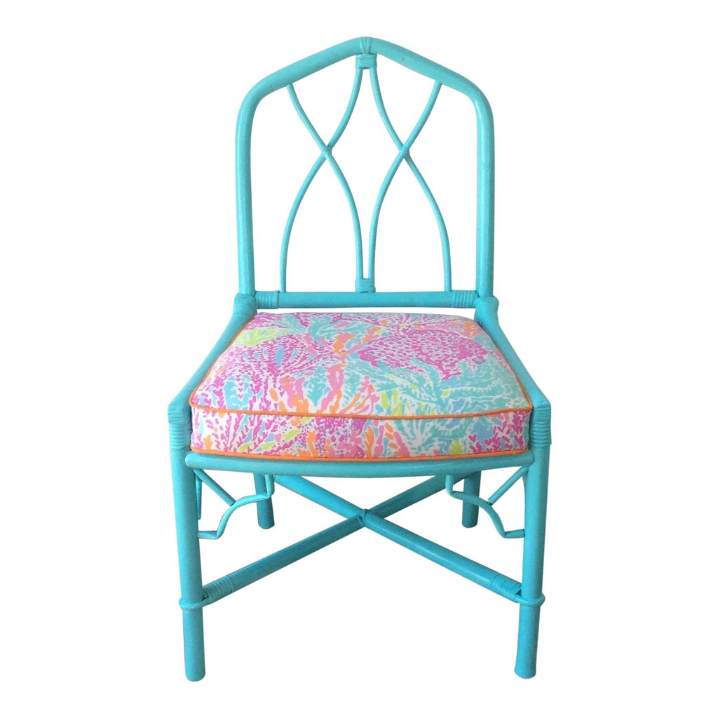 Ficks Reed Side Chair Lilly Pulitzer Let's Cha Cha Fabric