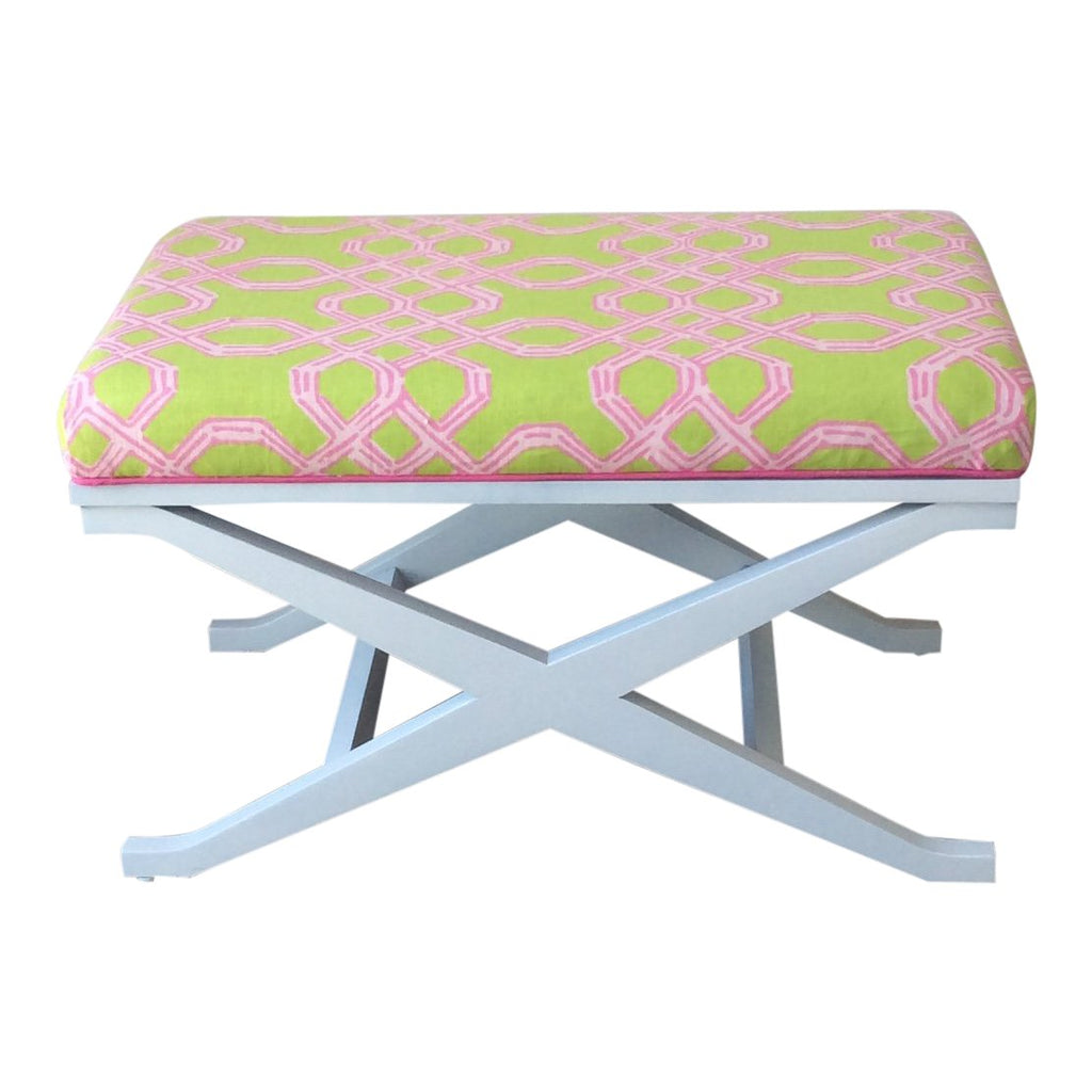 Lilly Pulitzer Well Connected Green and Pink Fabric X-Bench by Lilly and Co.