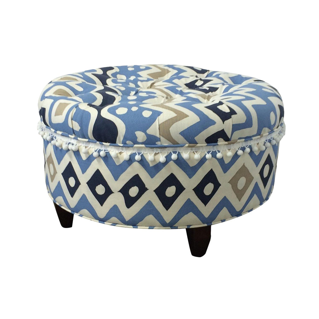 Quadrille Alan Campbell Cap Ferrat Multi Blues Round Tufted Ottoman by Lilly and Co
