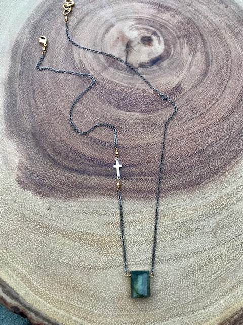 Labradorite and oxidized silver necklace with cross detail