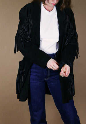 80s Leather Jacket with frings