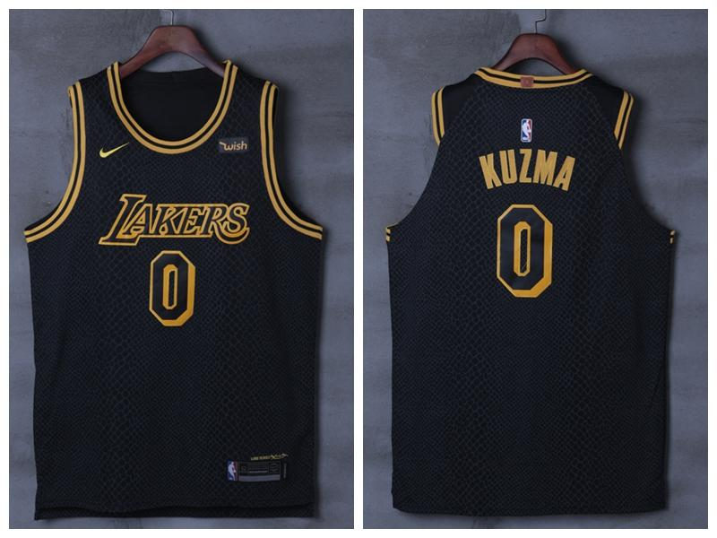 huge selection of 463dc 93822 Men 0 Kyle Kuzma Jersey City Edition Black Los Angeles Lakers Authentic  Player