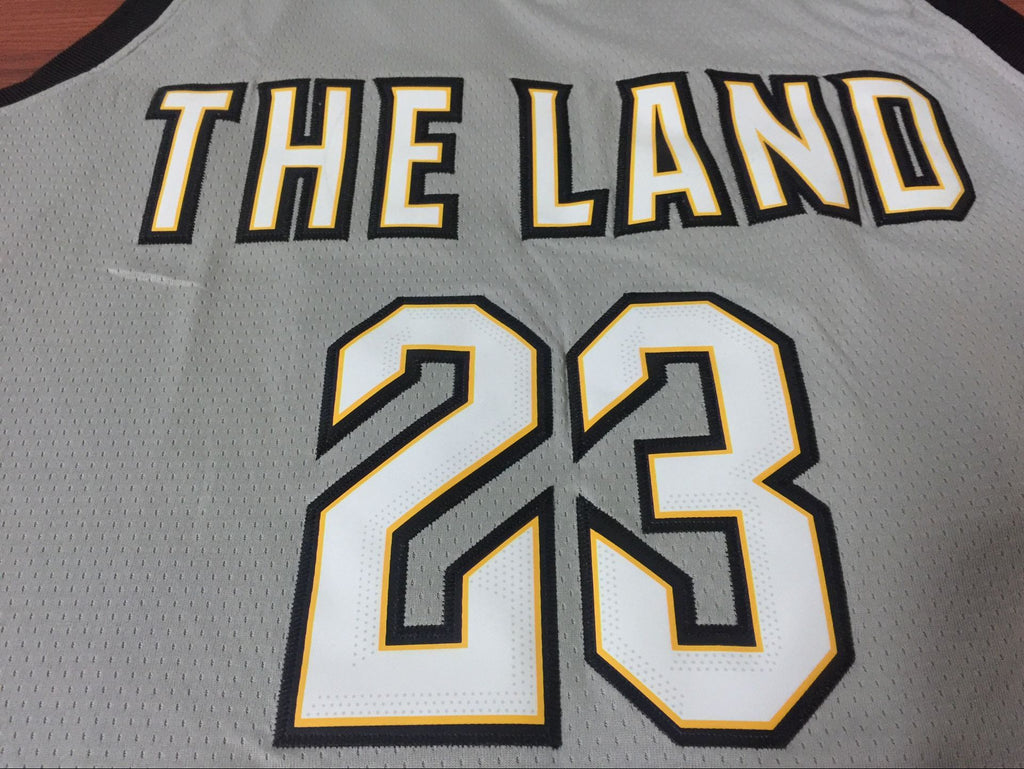 ... Men 23 Lebron James the Land Jersey Gray Cleveland Cavaliers City  Edition ... 5dd0cfe7f