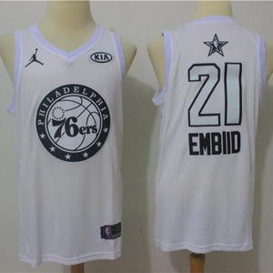 Men 2018 All Star 21 Joel Embiid Jersey White Philadelphia 76ers Jersey 0689723cf