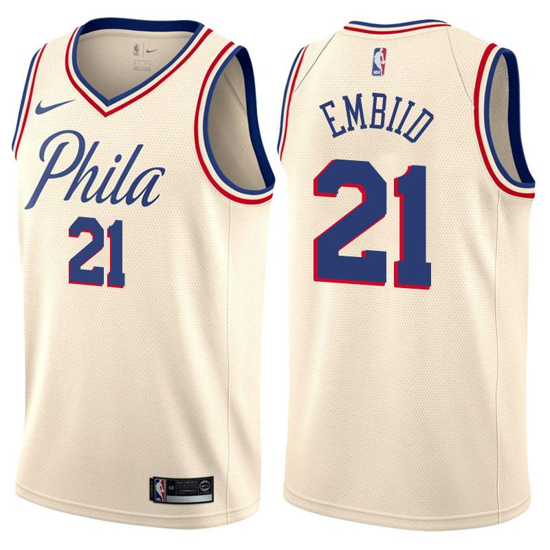 06f4cf453 Men 21 Joel Embiid Jersey White City Edition Philadelphia 76ers Jersey ...