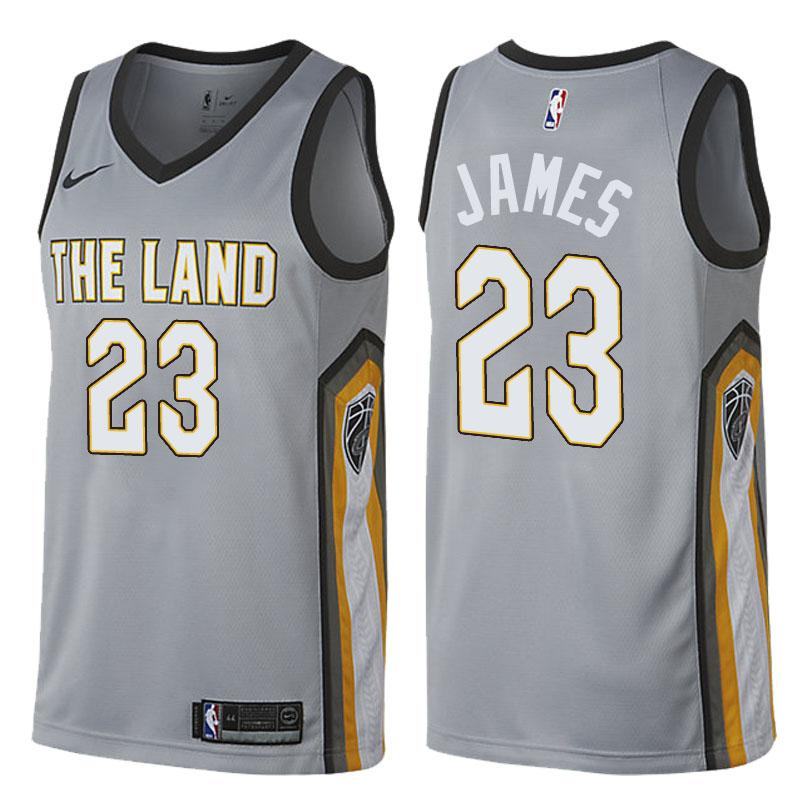 728dbf1ffba2 Men Cleveland Cavaliers 23 Lebron James Jersey Gray the Land ...