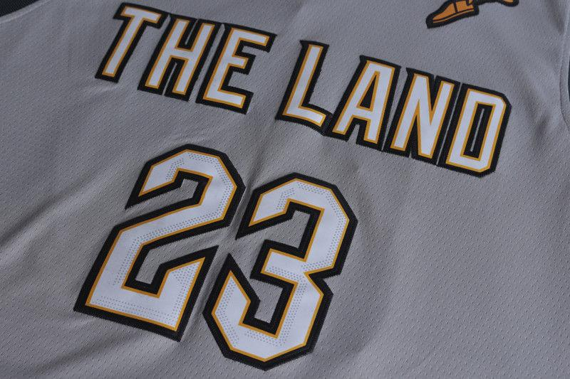 ... Men 23 Lebron James the Land Jersey Gray Cleveland Cavaliers City  Player ... 65cb94633
