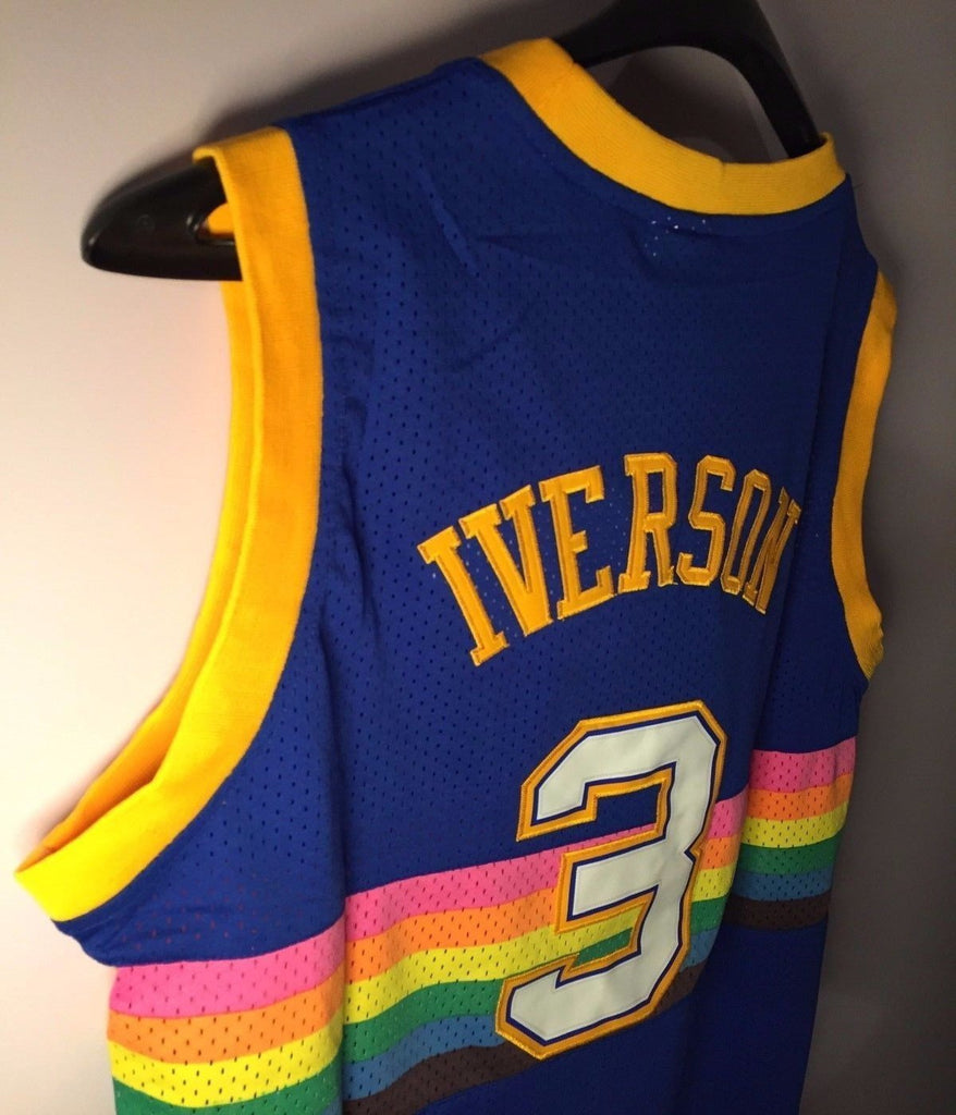 low price men 3 allen iverson jersey blue denver nuggets throwback swingman  7678e b1725 ef51103d2