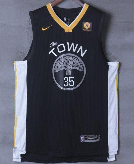 official photos cca60 ada13 Men 35 Kevin Durant the Town Jersey Black Golden State Warriors Player