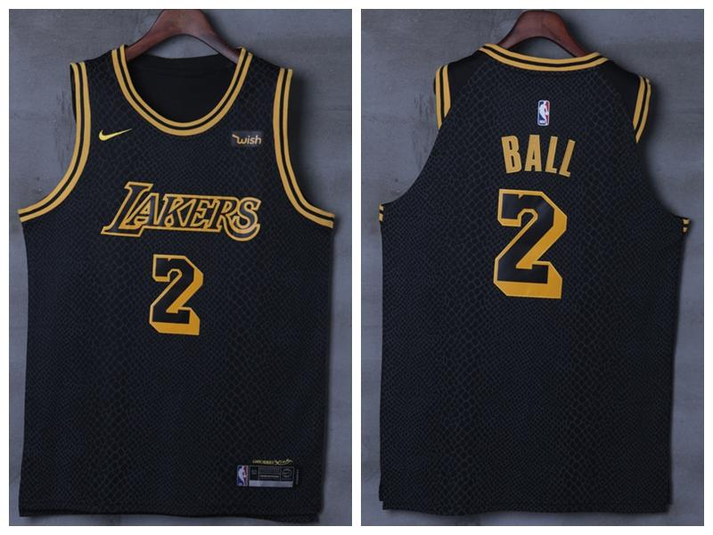 Men 2 Lonzo Ball Jersey Black Los Angeles Lakers Jersey Swingman Player ... d34d6168f