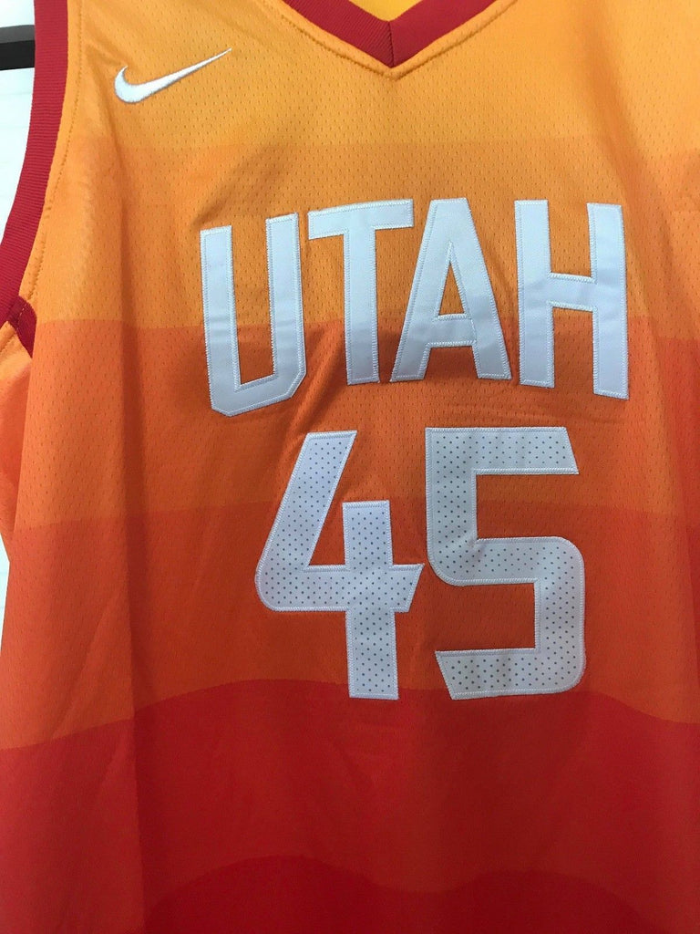 f8fdf7587 ... Men 45 Donovan Mitchell Jersey City edition Yellow Orange Utah Jazz ...