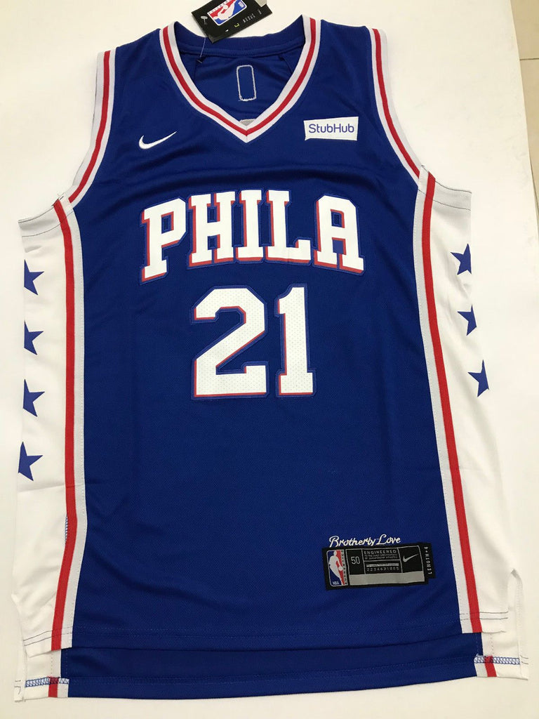 75a9a9ff7 ... Men 21 Joel Embiid Jersey Blue Philadelphia 76ers Authentic Jersey  Player ...