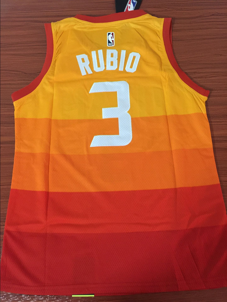 uk availability 599a6 37c96 Men 3 Rubio Jazz Jersey City edition Yellow Orange Utah Jazz Jersey Fanatics