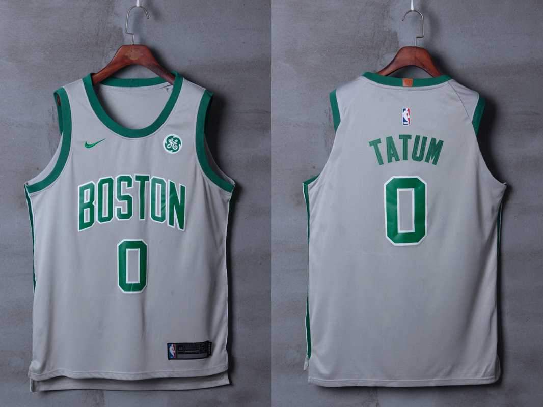 Men 0 Jayson Tatum Jersey City Edition Gray Boston Celtics Jersey Player 8778c82f6