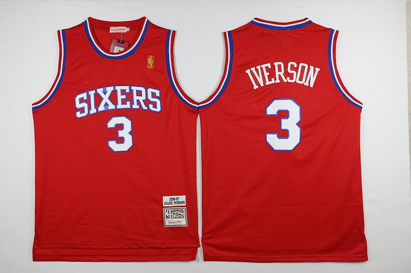 the latest 81fbf 552f3 Men 3 Allen Iverson Jersey Red Philadelphia 76ers Jersey Fanatics