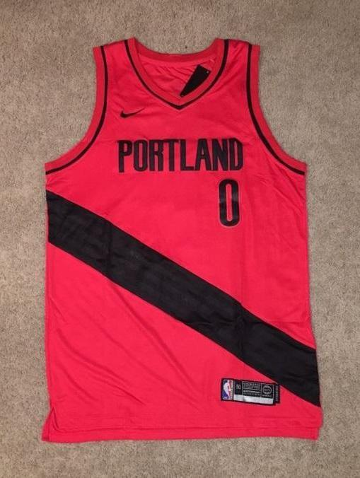 Men 0 Damian Lillard Jersey Red Portland Trail Blazers Authentic Playe –  nRevo 658f95662df0