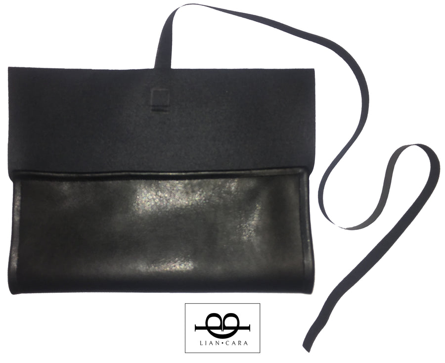 Large Faux Leather Clutch Bag